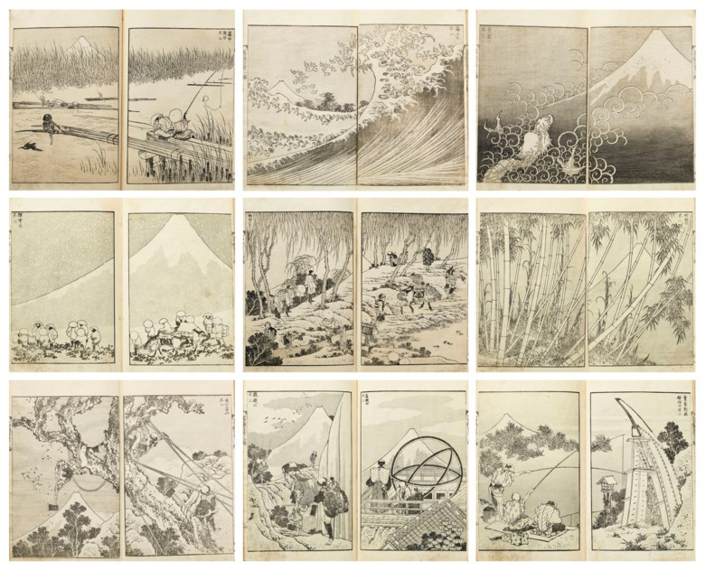 Katsushika Hokusai (1760-1849), Fugaku Hyakkei (One Hundred Views of Mount Fuji), 1834-35; circa 1849 (vol. 3). Woodblock-printed illustrated book; ink on paper; 3 volumes. 8⅞ x 6⅛  in (22.5 x 15.6  cm). Estimate $70,000-90,000. Offered in Japanese and Korean Art on 19 March 2019 at Christie's in New York
