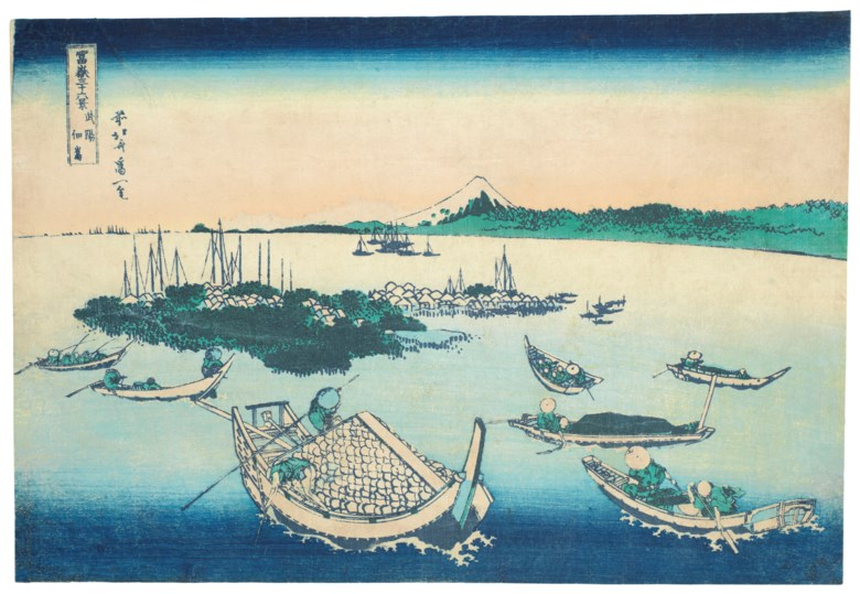 Katsushika Hokusai (1760-1849), Buyo Tsukudajima (Tsukudajima Island in Musashi Province). Woodblock print, from the series Fugaku sanjurokkei (Thirty-six Views of Mount Fuji). 10 x 14¾  in (25.4 x 37.5  cm). Sold for $25,000 on 19 March 2019 at Christie's in New York