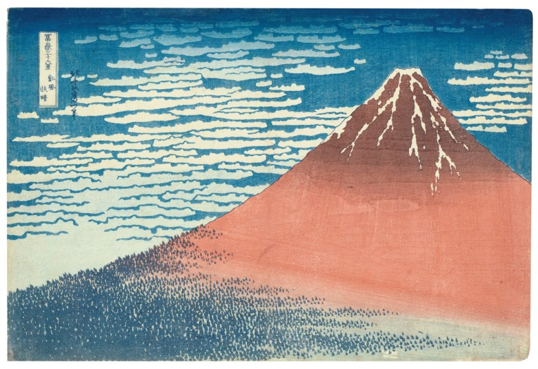 Katsushika Hokusai (1760-1849), Gaifu Kaisei (Fine Wind, Clear Weather) ['Red Fuji']. Woodblock print, from the series Fugaku Sanjurokkei (Thirty-six Views of Mount Fuji). 14⅞ x 10 in (37.8 x 25.4 cm). Estimate $90,000-120,000. Sold for $507,000 on 19 March 2019 at Christie's in New York
