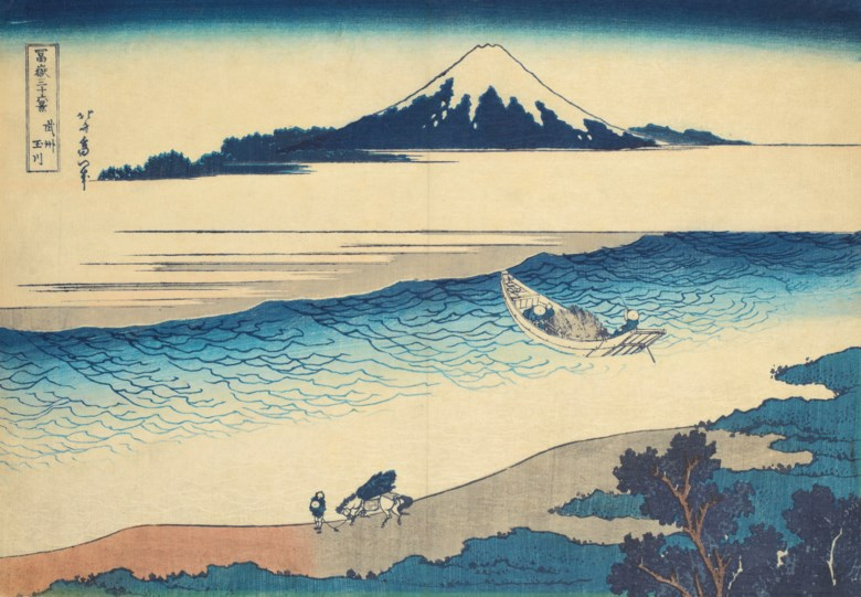 Katsushika Hokusai (1760-1849), Bushu Tamagawa (The Tama 'Jewel' River in Musashi Province). Woodblock print, from the series Fugaku sanjurokkei (Thirty-six views of Mount Fuji). 10 x 14⅜  in (25.4 x 36.5  cm). Sold for $50,000 on 19 March 2019 at Christie's in New York