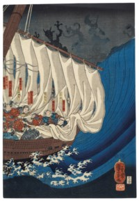 Minamoto Yoshitsune and his men attacked by ghosts of Heike warriors drowned at the Battle of Danoura, Benkei repelling them from the stern of the boat, derived from the Noh play Funa Benkei (Benkei in the boat)