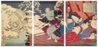 Taira shokoku Kiyomori nyudo jokai (Taira no Kiyomori and skulls in snow)