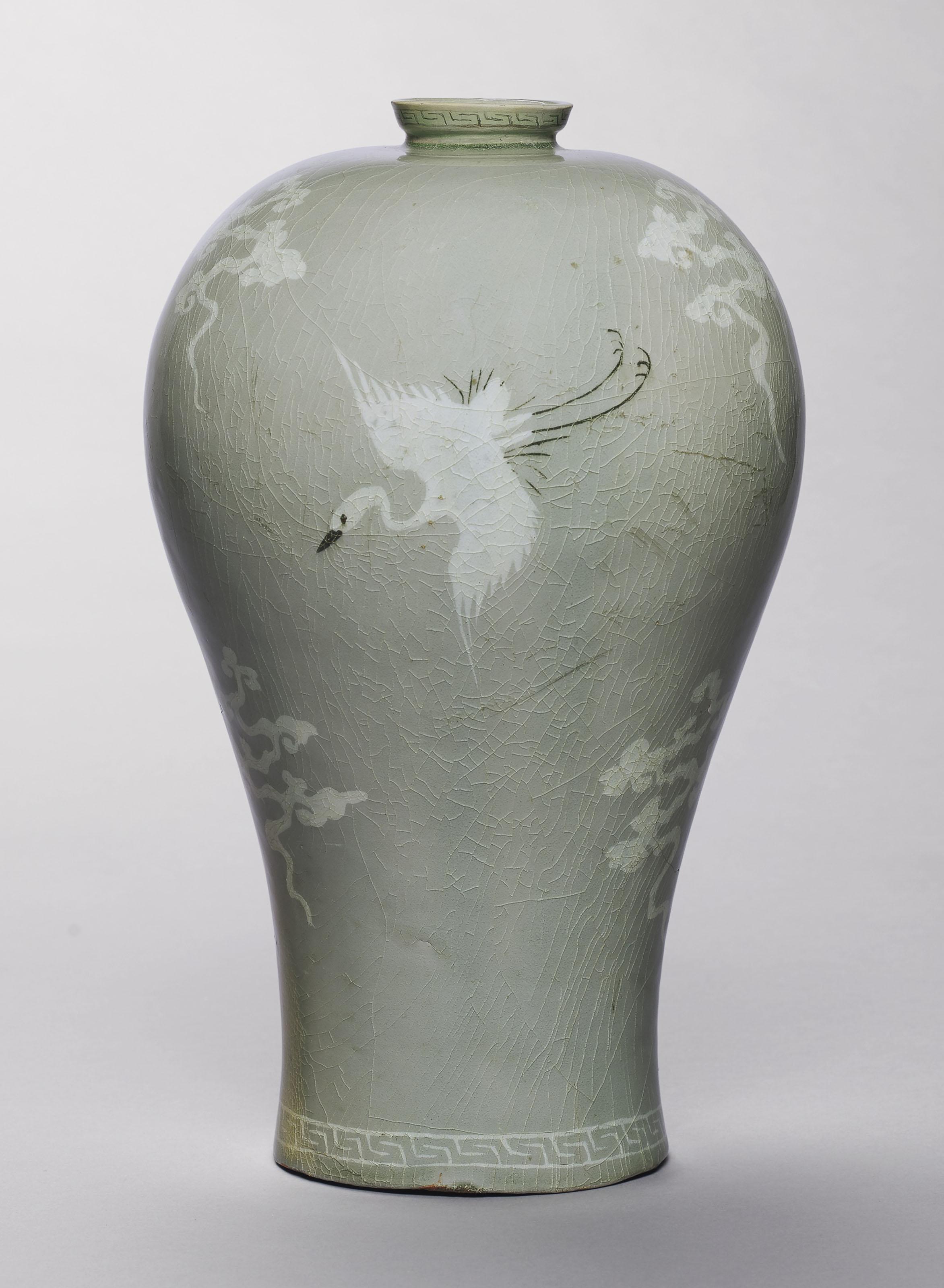 A slip-inlaid celadon stoneware maebyong