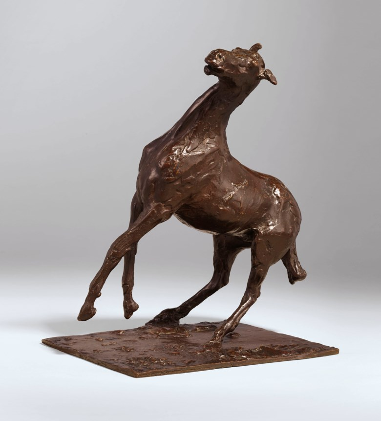 Edgar Degas (1834-1917), Cheval se cabrant, original wax model executed circa 1880-1890; this bronze version cast by 1921 in an edition numbered A to T, plus two casts reserved for the Degas heirs and the founder Hébrard, marked HER.D and HER respectively. Height 12 ¼  in (31.2  cm). Sold for $1,335,000 in Impressionist and Modern Art Evening Sale on 13 May 2019 at Christie's