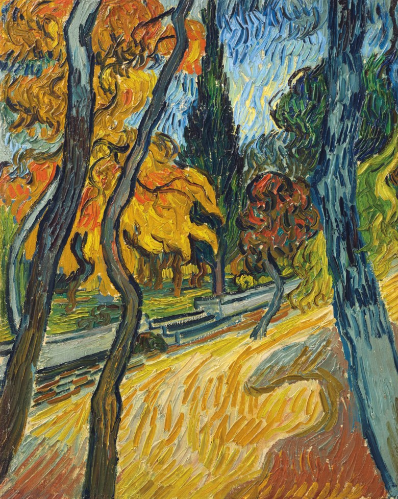 Vincent van Gogh (1853-1890), Arbres dans le jardin de l'asile, painted in Saint Rémy, October 1889. 16⅜ x 13¼  in (41.6 x 33.5  cm). Sold for $40,000,000 on 13 May 2019 at Christie's in New York
