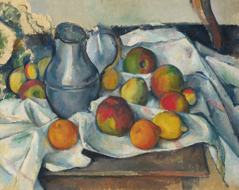 Paul Cézanne (1839-1906), Bouilloire et fruits, 1888-1890. 19⅛ x 23⅝  in (48.6 x 60  cm). Sold for $59,295,000 on 13 May 2019 at Christie's in New York