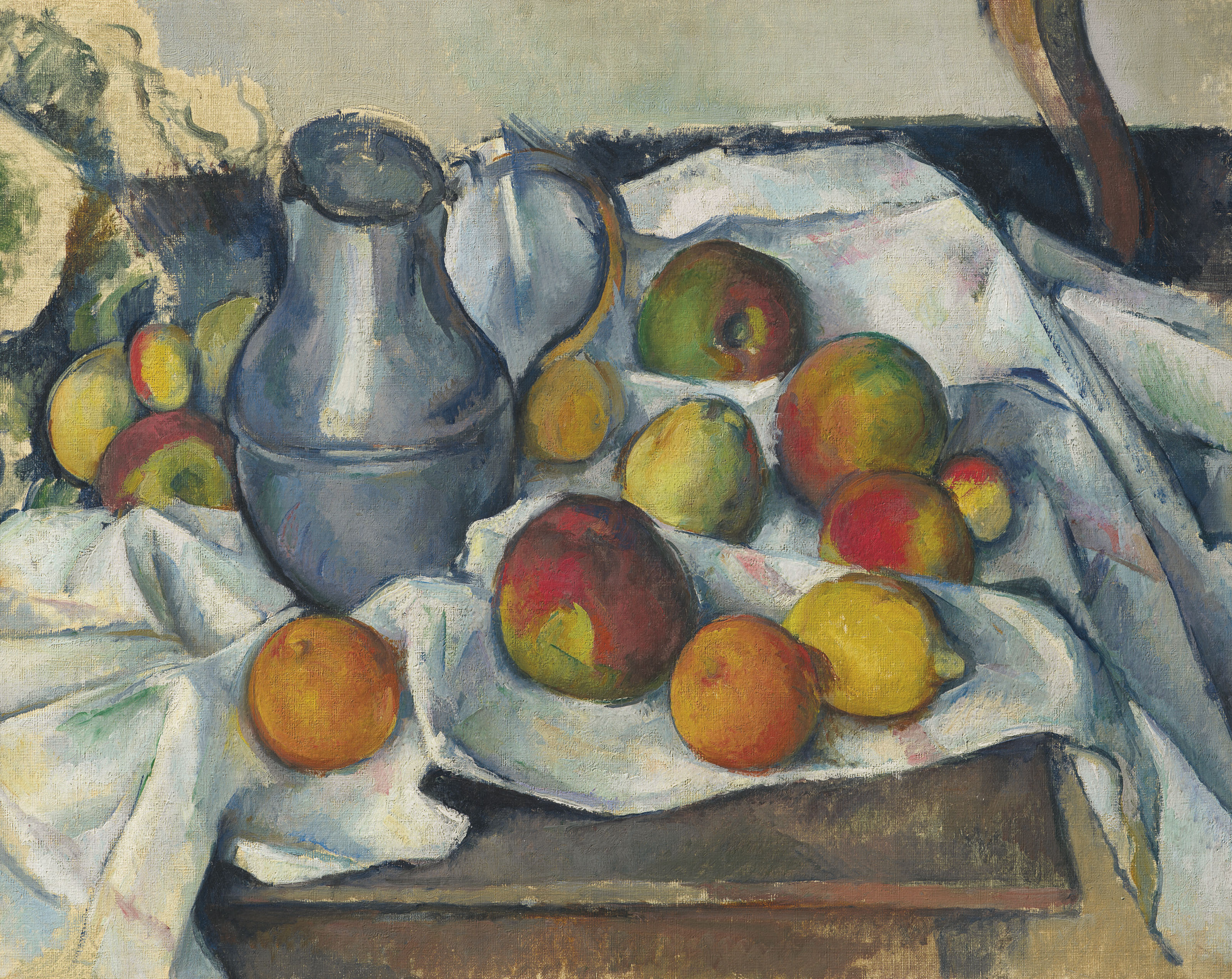 Paul Cézanne (1839-1906), Bouilloire et fruits, 1880-1890. Oil on canvas.19⅛ x 23⅝in (48.6 x 60 cm). Sold for $59,295,000 on 13 May 2019 at Christie's in New York