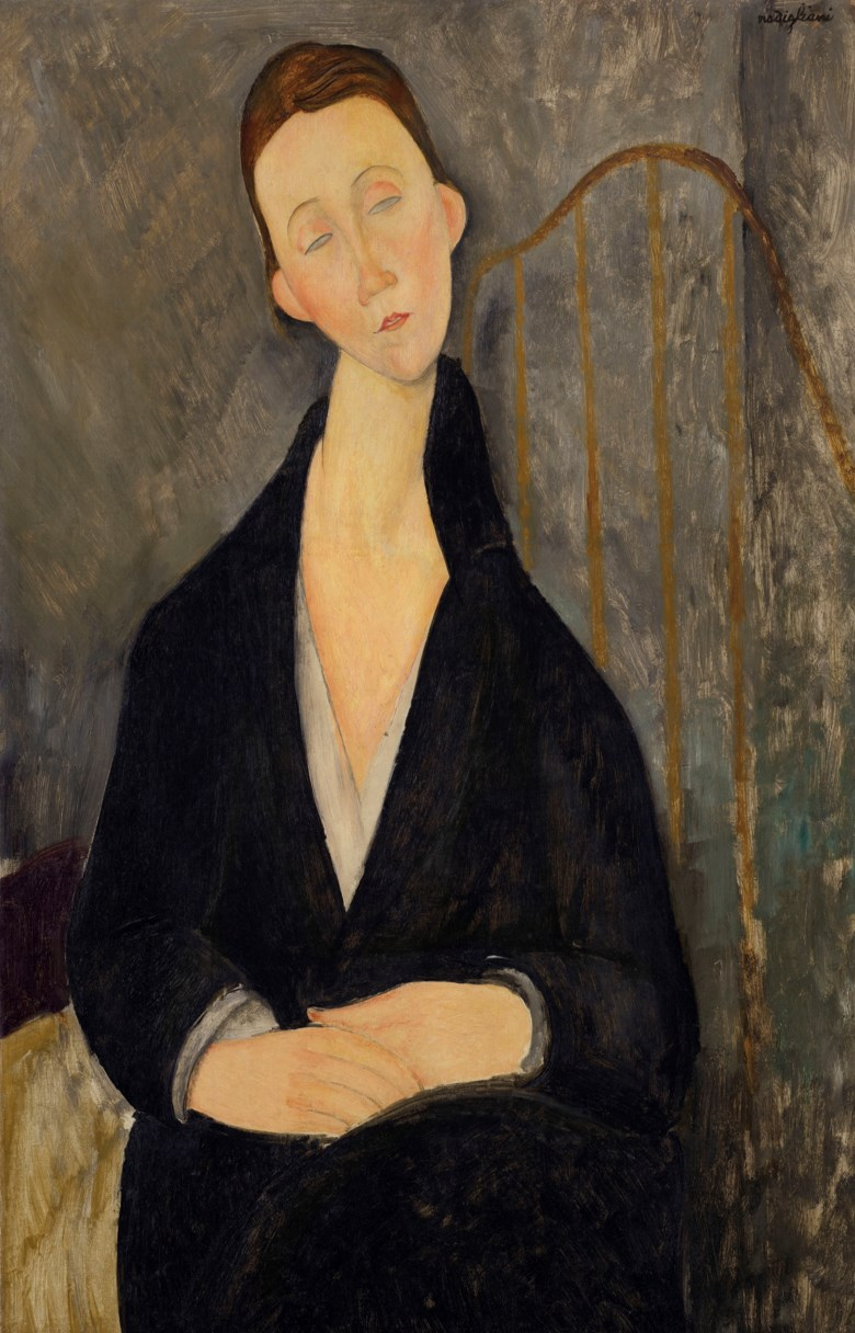 Amedeo Modigliani (1884-1920), Lunia Czechowska (à la robe noire), painted in 1919. 36⅜ x 23⅝ in (92.4 x 60 cm). Sold for $25,245,000 on 13 May 2019 at Christie's in New York