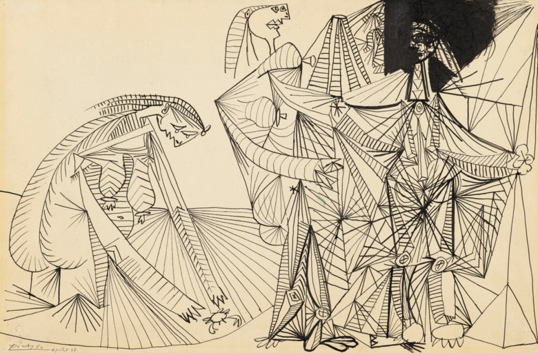 Pablo Picasso (1881-1973), Baigneuses et crabe, drawn in Mougins, 4 July 1938. Pen and India ink on paper. 17½ x 26⅝  in (44.4 x 67.8  cm). Estimate $1,200,000-1,800,000. Offered in Impressionist and Modern Art Evening Sale on 13 May 2019 at Christie's in New York © 2019 Estate of Pablo Picasso  Artists Rights Society (ARS), New York