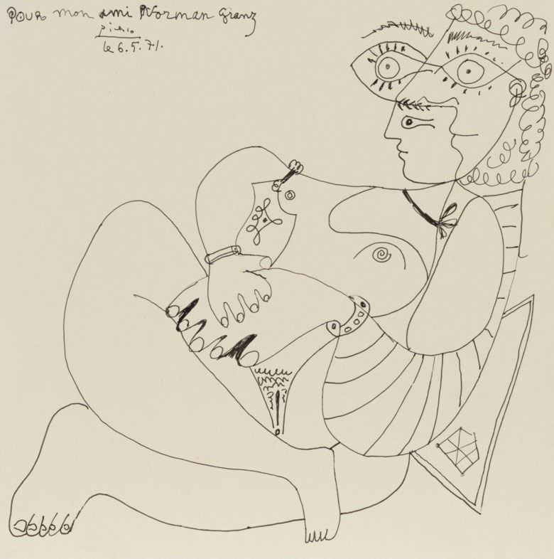 Pablo Picasso (1881-1973), Couple assis, drawn on 6 May 1971. Pen and India ink on paper. 6½ x 6½  in (16.4 x 16.4  cm). Estimate $70,000-100,000. Offered in Impressionist and Modern Art Works on Paper Sale on 14 May 2019 at Christie's in New York © 2019 Estate of Pablo Picasso  Artists Rights Society (ARS), New York