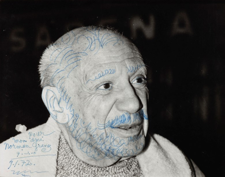 Pablo Picasso (1881-1973), Portrait de Picasso, drawn on 9 January 1972. Blue felt-tip pen over photograph. 9⅜ x 11⅝  in (23.8 x 29.4  cm). Estimate $8,000-10,000. Offered in Impressionist and Modern Art Works on Paper Sale on 14 May 2019 at Christie's in New York © 2019 Estate of Pablo Picasso  Artists Rights Society (ARS), New York