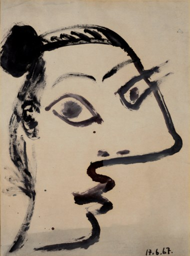 Pablo Picasso (1881-1973), Tête de femme, painted on 17 June 1967. Brush and India ink on toned paper. 25⅜ x 18⅞  in (64.5 x 48  cm). Estimate $300,000-500,000. This lot is offered in Impressionist and Modern Art Works on Paper Sale on 14 May 2019 at Christie's in New York © 2019 Estate of Pablo Picasso  Artists Rights Society (ARS), New York