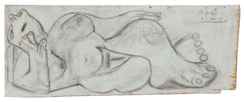 Pablo Picasso (1881-1973), Femme nue couchée, executed on 19 April 1965. Oil, black wax crayon and pencil on panel. 13⅜ x 33⅞  in (34 x 86  cm). Estimate $500,000-800,000. Offered in Impressionist and Modern Art Works on Paper Sale on 14 May 2019 at Christie's in New York © 2019 Estate of Pablo Picasso  Artists Rights Society (ARS), New York