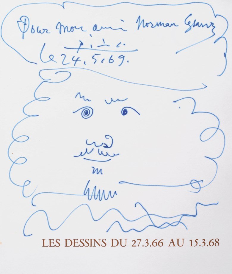 Pablo Picasso (1881-1973), Mousquetaire, drawn on 24 May 1969. Blue felt-tip pen on paper. 11¼ x 9½  in (28.5 x 24  cm). Estimate $10,000-15,000. Offered in Impressionist and Modern Art Works on Paper Sale on 14 May 2019 at Christie's in New York © 2019 Estate of Pablo Picasso  Artists Rights Society (ARS), New York