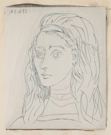 Pablo Picasso (1881-1973), Portrait de Jacqueline, 1963-64. This work is from an edition of five. Linocut rincé printed in cream with China ink on Arches paper. Sheet 29 ¾ x 24⅜  in (75.2 x 62  cm). Estimate $100,000-150,000. Offered in Impressionist and Modern Art Works on Paper Sale on 14 May 2019 at Christie's in New York © 2019 Estate of Pablo Picasso  Artists