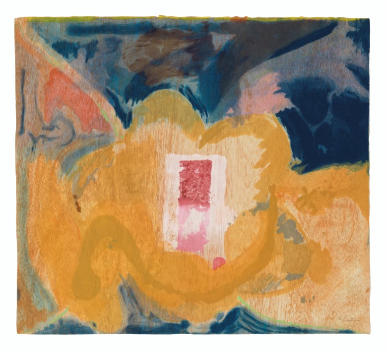 Helen Frankenthaler (1928-2011), Tales of Genji V, from Tales of Genji. Woodcut in colours, on handmade TGL paper, 1998, signed in pencil, numbered 1536 (there were also 14 artists proofs), published by Tyler Graphics, Ltd., Mount Kisco, New York. Sheet 42 x 46¾ in (1067 x 1188 mm). Estimate $30,000-50,000. Offered in Prints & Multiples on 17-18 April 2019 at Christie's in New
