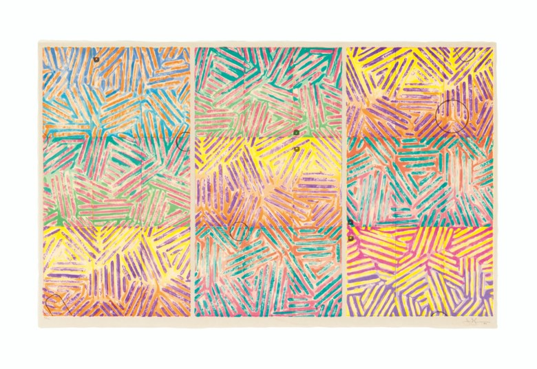Jasper Johns (b. 1930), Usuyuki. Screenprint in colours, on Kurotani Kozo paper, 1982, signed and dated in pencil, numbered 4652 (there were also six artists proofs), co-published by the artist and Simca Print Artists, Inc., New York. Sheet 29¼ x 46¾ in (743 x 1188 mm). Estimate $70,000-100,000. Offered in Prints & Multiples on 17-18 April 2019 at Christie's in New York