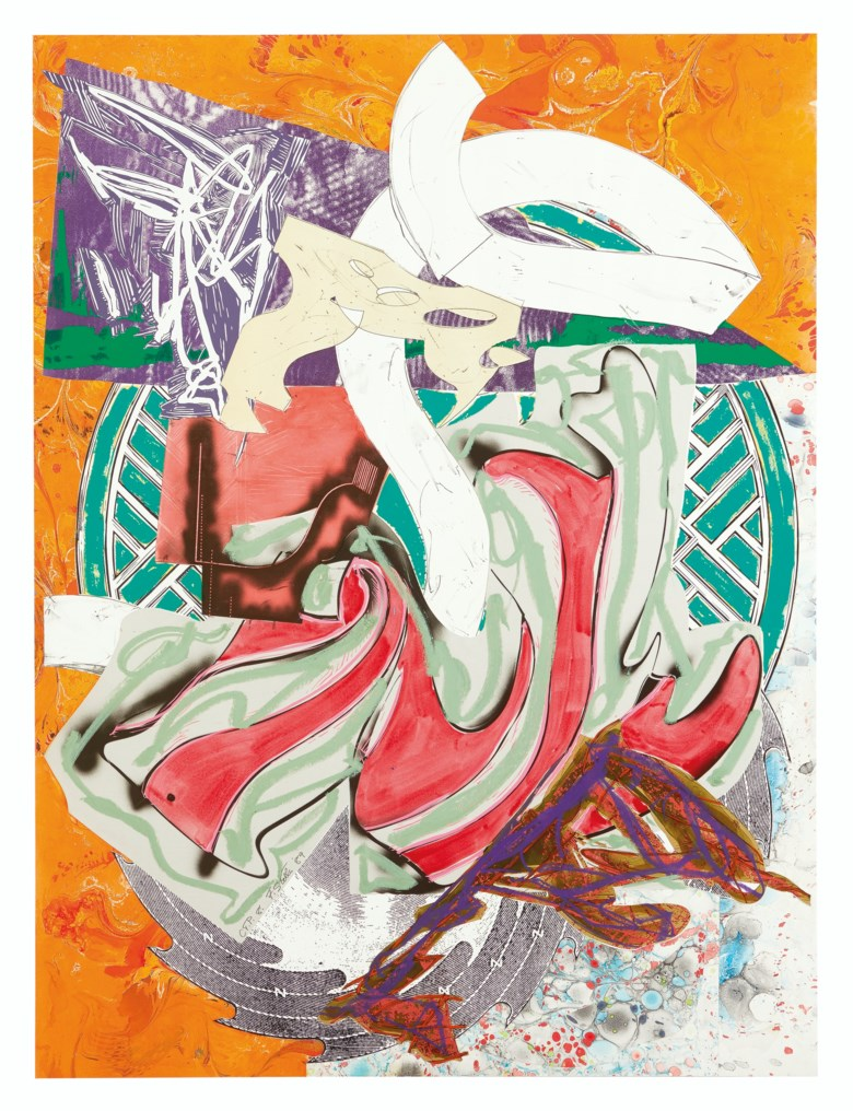 Frank Stella (b. 1936), Ahab, from The Waves.Screenprint, lithograph and linocut in colours with hand-colouring and collage, on T.H. Saunders and Somerset papers, 1989, signed and dated 88 in pencil, annotated 'CTP 8' (a colour trial proof, the edition was 60), published by Waddington Graphics, London. Framed sheet 73⅝ x 54⅝ in (1870 x 1387 mm). Estimate $20,000-30,000. Offered