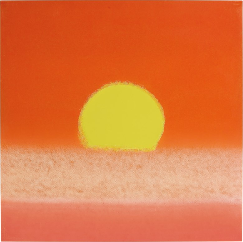Andy Warhol (1928-1987), Sunset. Unique screenprint in colours, on smooth wove paper, 1972, signed, dated and numbered 294470 in pencil on the reverse (from the edition of 632 unique impressions), published by David Whitney, New York. Sheet 33⅞ x 33⅞  in (860 x 860 mm). Estimate $40,000-60,000. Offered in Prints & Multiples on 17-18 April 2019 at Christie's in New York
