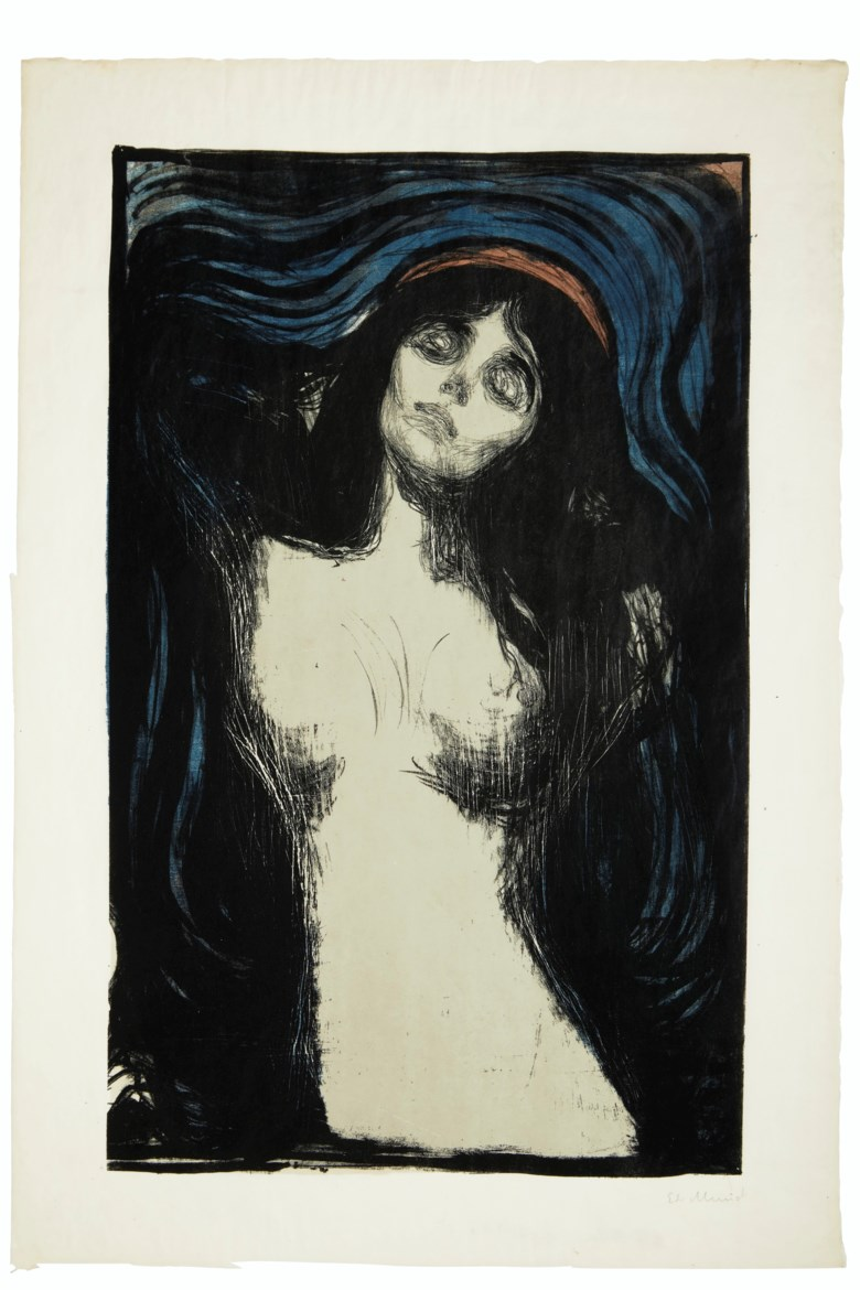 Edvard Munch (1863-1944), Madonna. Lithograph with woodcut in colours, on Japon paper, 1895, Woll's fourth state (of seven), signed in pencil. Sheet 26 x 17¾ in (660 x 451 mm). Estimate $300,000-500,000. Offered in Prints & Multiples on 17-18 April 2019 at Christie's in New York