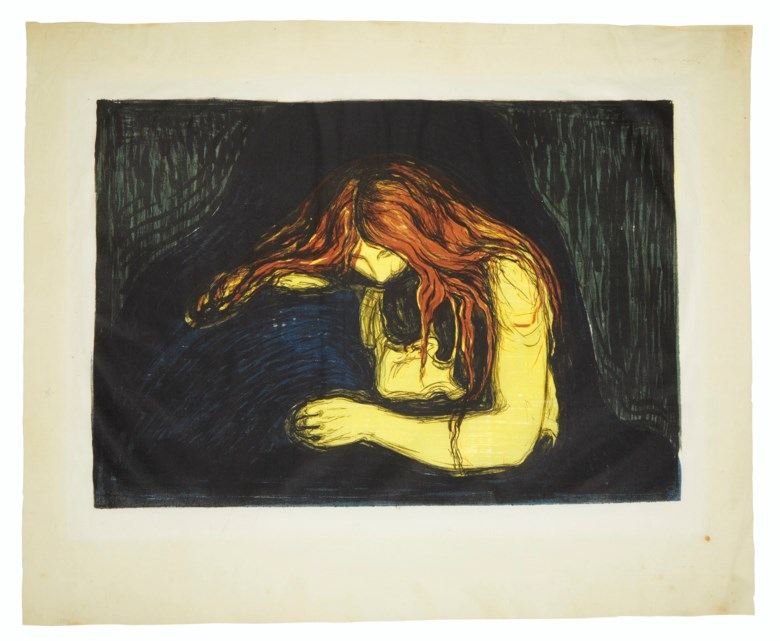 Edvard Munch (1863-1944), Vampyr II (Vampire II). Lithograph and woodcut in colours, on Japon laid paper, 1895. Sheet 22⅜ x 27⅛  in (567 x 690  mm). Sold for $507,000 on 17-18 April 2019 at Christie's in New York