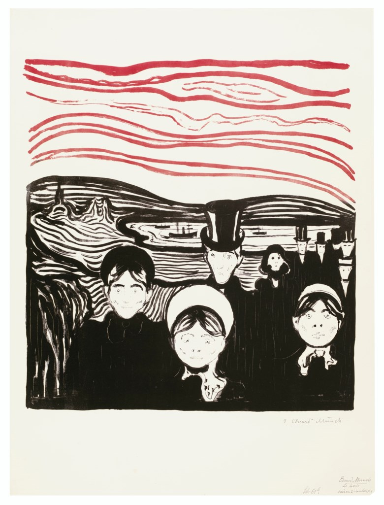 Edvard Munch (1863-1944), Angst, from Album des Peintres Graveurs. Sheet 22⅜ x 16⅞  in (570 x 431  mm). Offered in Prints & Multiples on 17-18 April 2019 at Christie's in New York and sold for $831,000