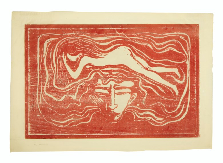 Edvard Munch (1863-1944), Im männlichen Gehirn (In the Mans Brain). Sheet 18 x 25⅞  in (458 x 658  mm). Offered in Prints & Multiples on 17-18 April 2019 at Christie's in New York and sold for $375,000