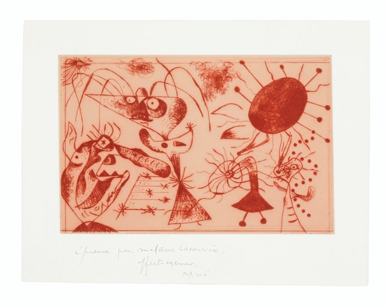 Joan Miró (1893-1983), Série noire et rouge one plate. Etching in red, on Arches paper, 1938, signed and inscribed épreuve pour Madame Lacourière, affecteusement, Miró, a proof aside from the edition of 30, co-published by Pierre Loeb and Pierre Matisse, Paris and New York. Sheet 12⅞ x 17½  in (327 x 445  mm). Estimate $20,000-30,000. This lot is offered in Prints & Multiples on 17-18 April 2019