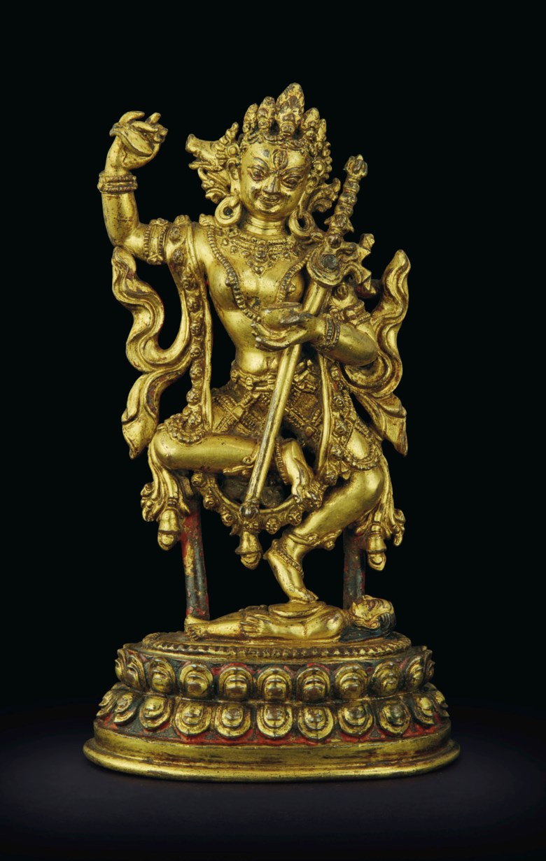 A gilt-bronze figure of Vajravarahi. Nepal, Khasa Malla Kingdom, 13th-14th century. 4¼  in. (10.8  cm.) high. Sold for $137,500 on 20 March 2019 at Christie's in New York