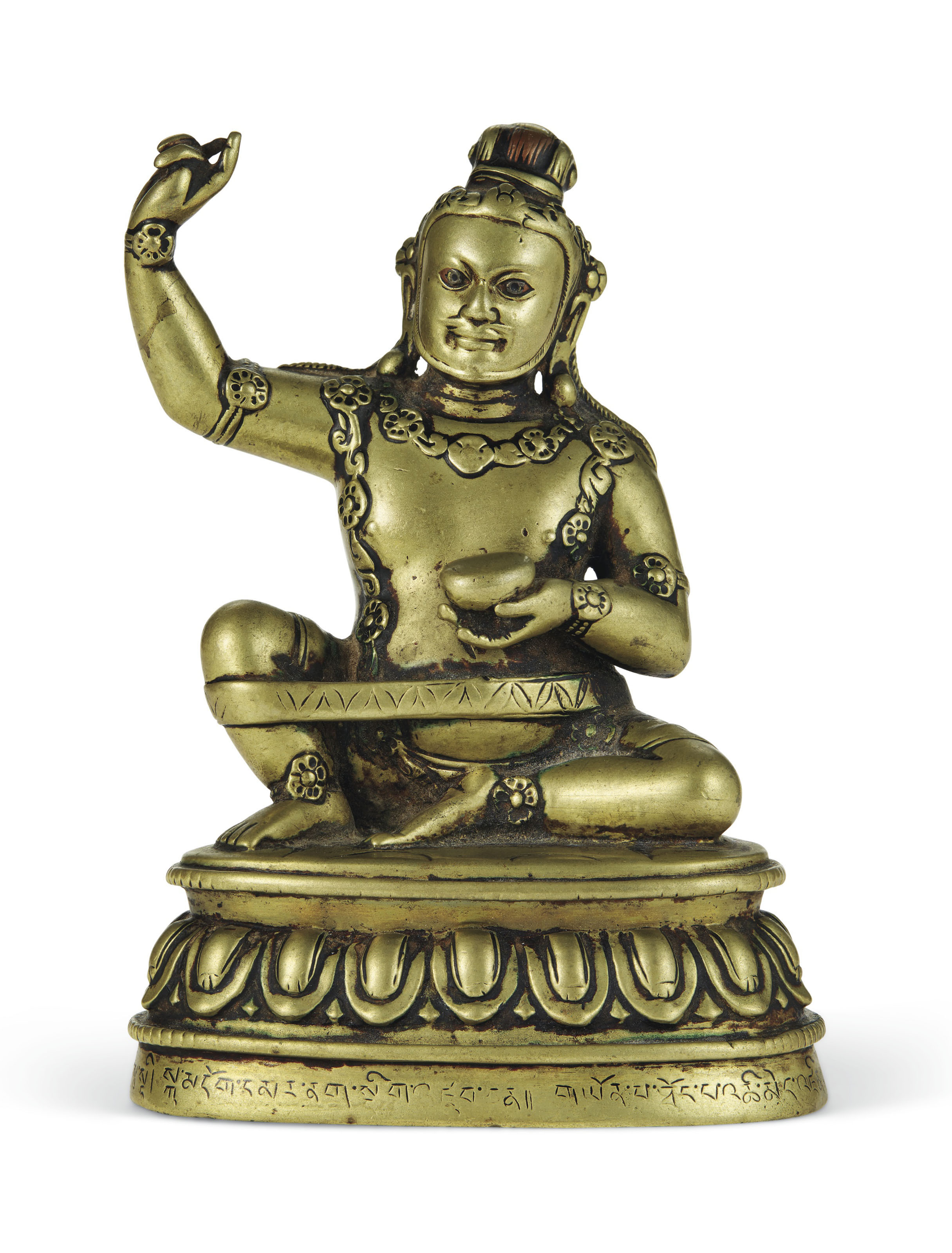 A SILVER- AND COPPER-INLAID BRONZE FIGURE OF VIRUPA