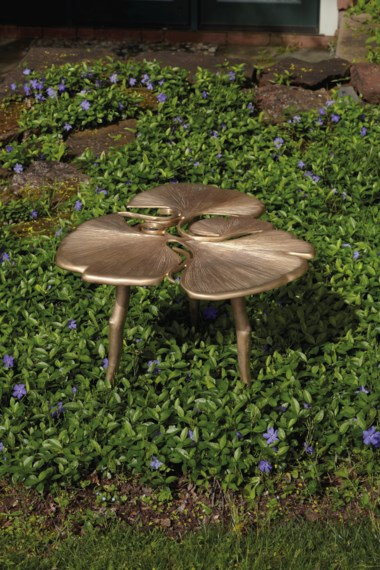 Claude Lalanne (1925-2019), 'TRIFOLIA II GINKGO'side table, 2009, with artists monogram CLand impressed 28a Lalanne 2009. 16 ½  in (41.9  cm) high; 26  in (66  cm) wide; 22  in (55.8  cm) deep. Estimate $80,000-120,000. Offered in Design on 4 June 2019 at Christie's in New York