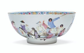 A CHINESE EXPORT FAMILLE ROSE MASSIVE PUNCH BOWL
