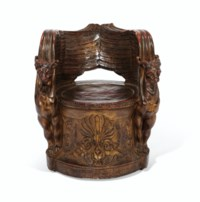 A GILT AND PAINTED TERRACOTTA GRIFFIN THRONE CHAIR