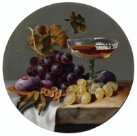 Grapes, Plums and a Glass on a stone Ledge