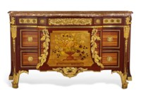 A LOUIS XVI ORMOLU-MOUNTED BOIS SATINE, AMARANTH, SYCAMORE AND MARQUETRY COMMODE