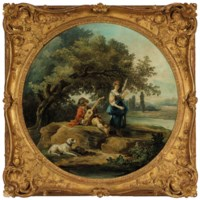 A shepherd and shepherdess with a dog in a landscape