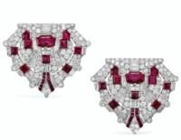ART DECO RUBY AND DIAMOND DOUBLE CLIP-BROOCH, RAYMOND YARD