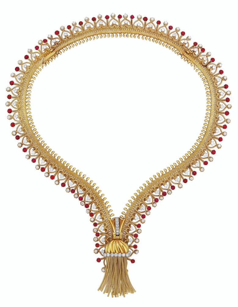 An Iconic Retro Gold, Ruby and Diamond Zip Necklace, Van Cleef & Arpels, circular-cut rubies and diamonds, 18k gold and platinum (french marks), may be converted into a bracelet, necklace 15 ins., bracelet 7 ins., circa 1955. Sold for $483,000 on 16 April 2019 at Christie's in New York
