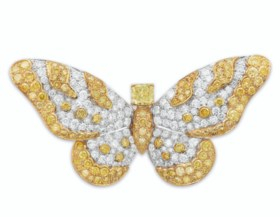 DIAMOND AND COLORED DIAMOND BUTTERFLY BROOCH, GRAFF