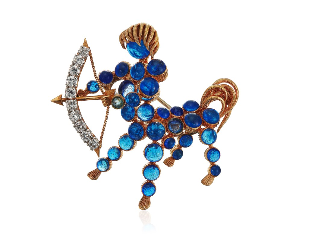 CARTIER BLUE GLASS AND DIAMOND CENTAUR BROOCH