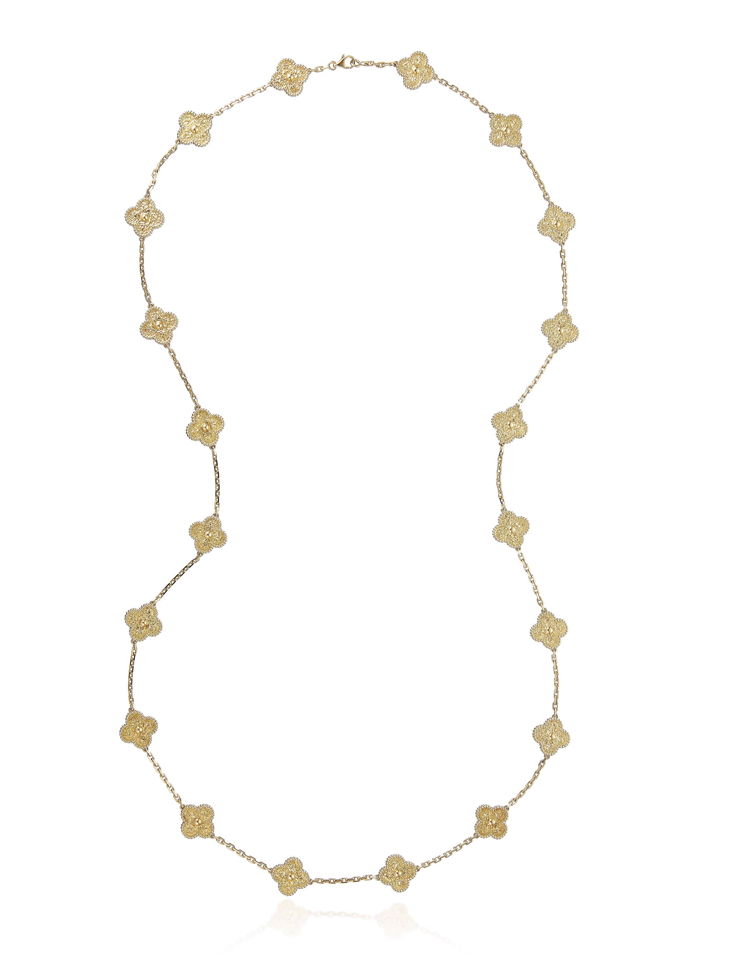 黃金「Vintage Alhambra」長項鏈,梵克雅寶設計。估價:8,000-12,000美元。此拍品於2019年2月6至14日在佳士得珠寶網上拍賣中呈獻。