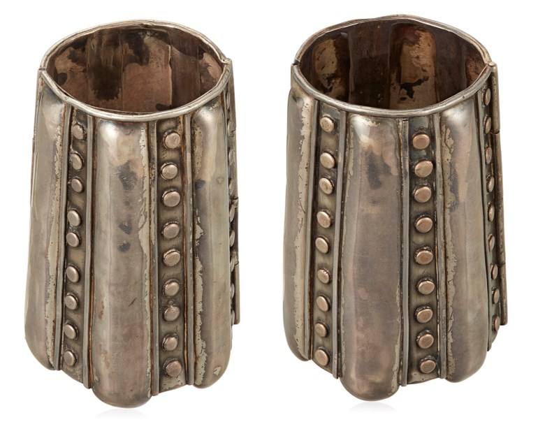 Antonio Pineda, pair of large silver bracelets. Silver, inner circumference graduates from approximately 16.5 cm to 20.3 cm, 10.5 cm length. Sold for $13,750 on 18 Apr 2019, online