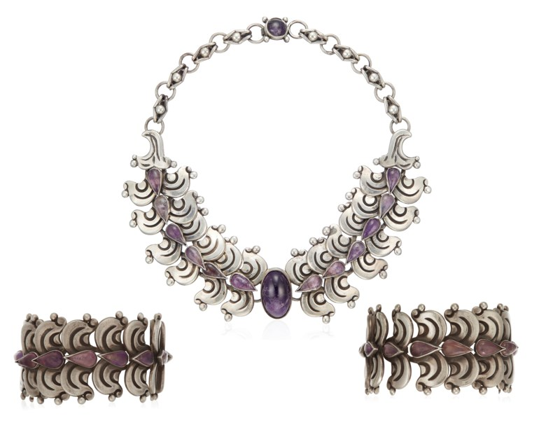 Héctor Aguilar set of amethyst and silver jewellery. Dimensions 42.5 cm length, 4.2 cm width (necklace); 16.5 cm length and 18.5 cm length, 4.0 cm width (bracelets). Estimate $1,500-2,000. Offered in  Christies Jewels Online, 10-18 April 2019, Online