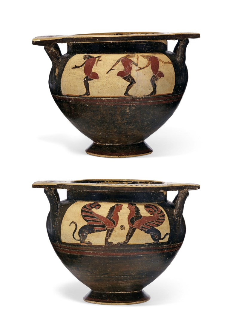A Corinthian black-figured column-krater, circa mid 6th century BC. 13⅜  in (33.9  cm) wide, including handles. Estimate $15,000-20,000. Offered in Antiquities on 29 April 2019 at Christie's in New York