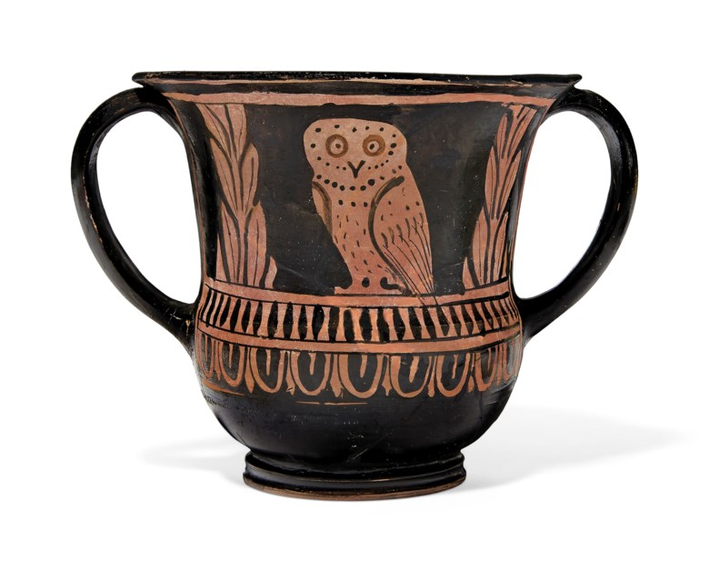 An Apulian red-figured sessile kantharos, circa 340-320 BC. 4 316  in (10.6  cm) high. Estimate $2,000-3,000. Offered in Antiquities on 29 April 2019 at Christie's in New York