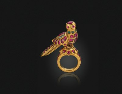 AN ANTIQUE RUBY, EMERALD AND G