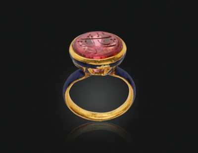 'THE SHAH JAHAN SEAL RING' AN ANTIQUE SPINEL AND ENAMEL RING