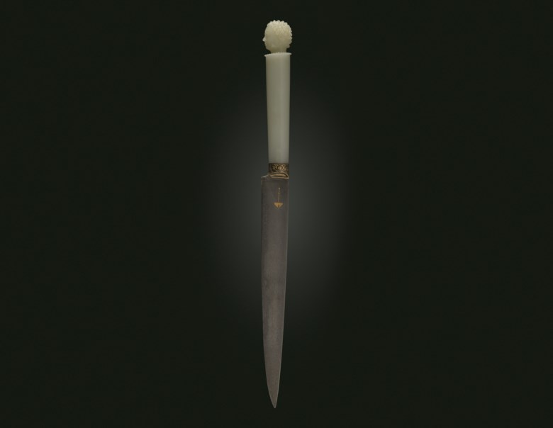 The Shah Jahan Dagger (kard), North India, hilt 1620-1630. 11⅝  ins (29.7  cm) long; hilt 4⅜  ins (11.1  cm) long. Sold for $3,375,000 on 19 June 2019 at Christie's in New York