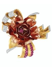 RETRO DIAMOND, RUBY AND BI-COLORED GOLD 'ROSE' BROOCH, TRABERT, HOEFFER & MAUBOUSSIN