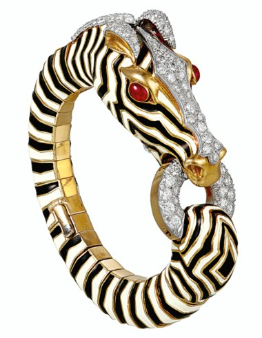 Diamond, ruby and enamel Zebra bangle bracelet, by David Webb. Sold for $50,000 on 11 December 2019 at Christie's in New York